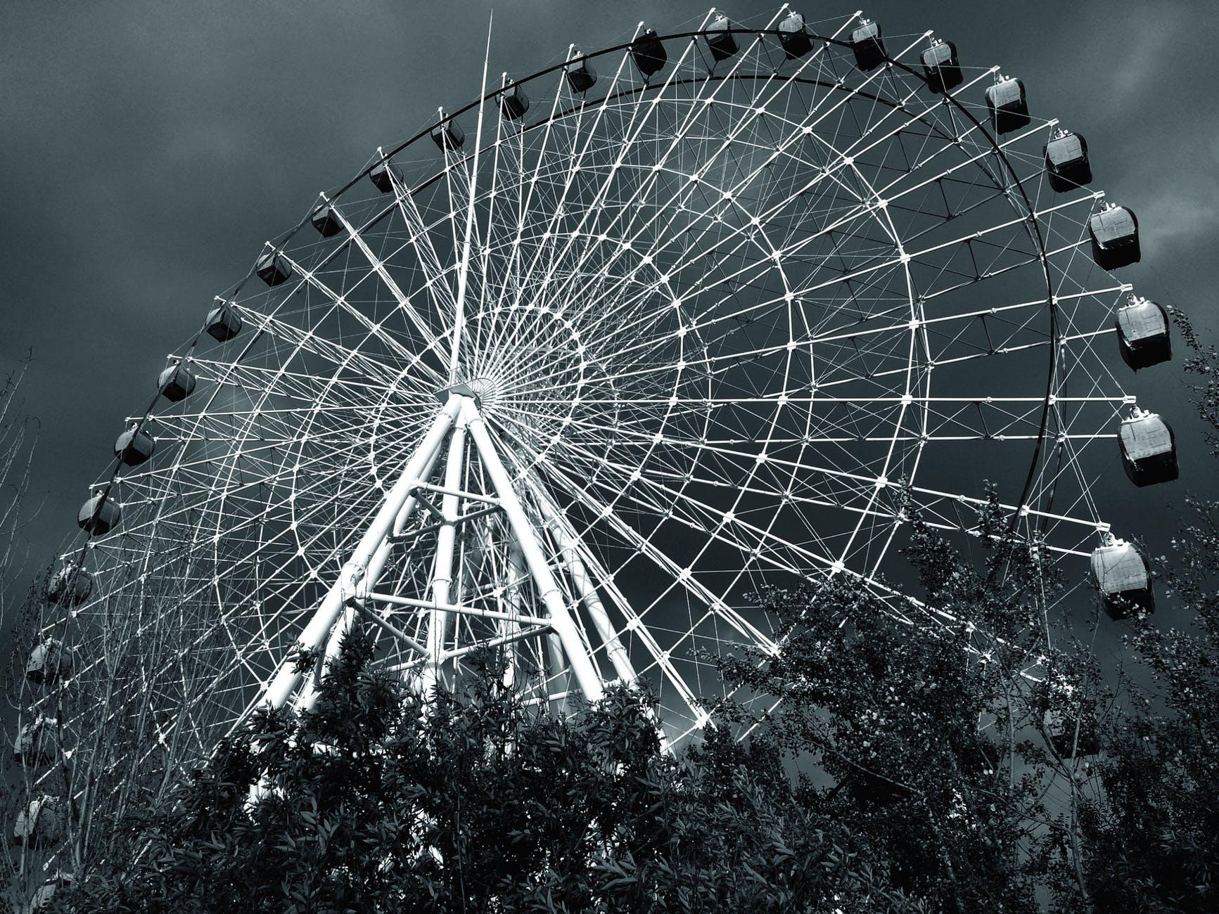 amusement park attraction big black and white